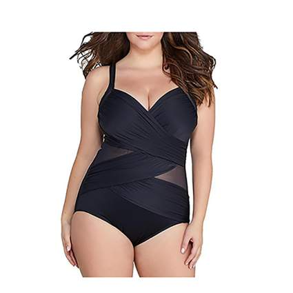 black and sheer mesh one piece swimsuit