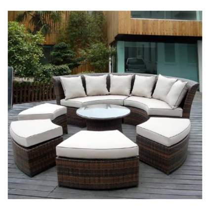 round wicker patio furniture set