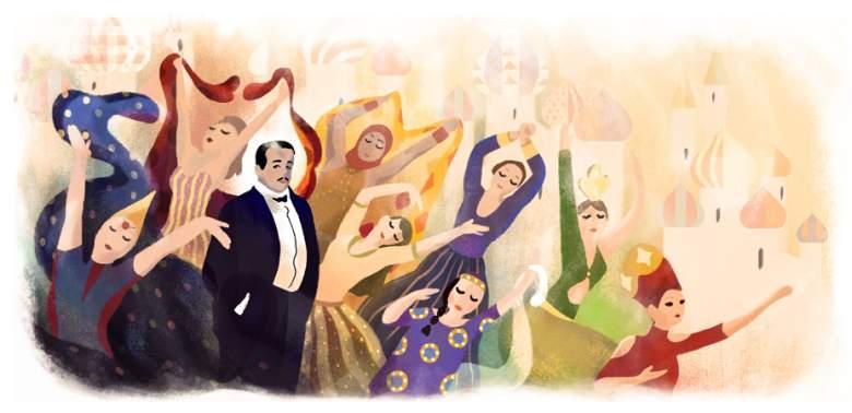 Google doodle, Sergei Diaghilev, Sergei Diaghilev's 145th birthday
