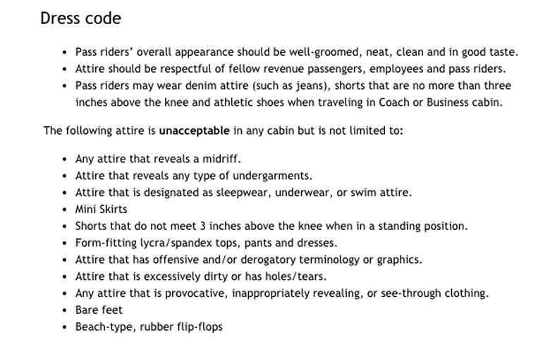 United Airlines Pass Traveler Dress Code
