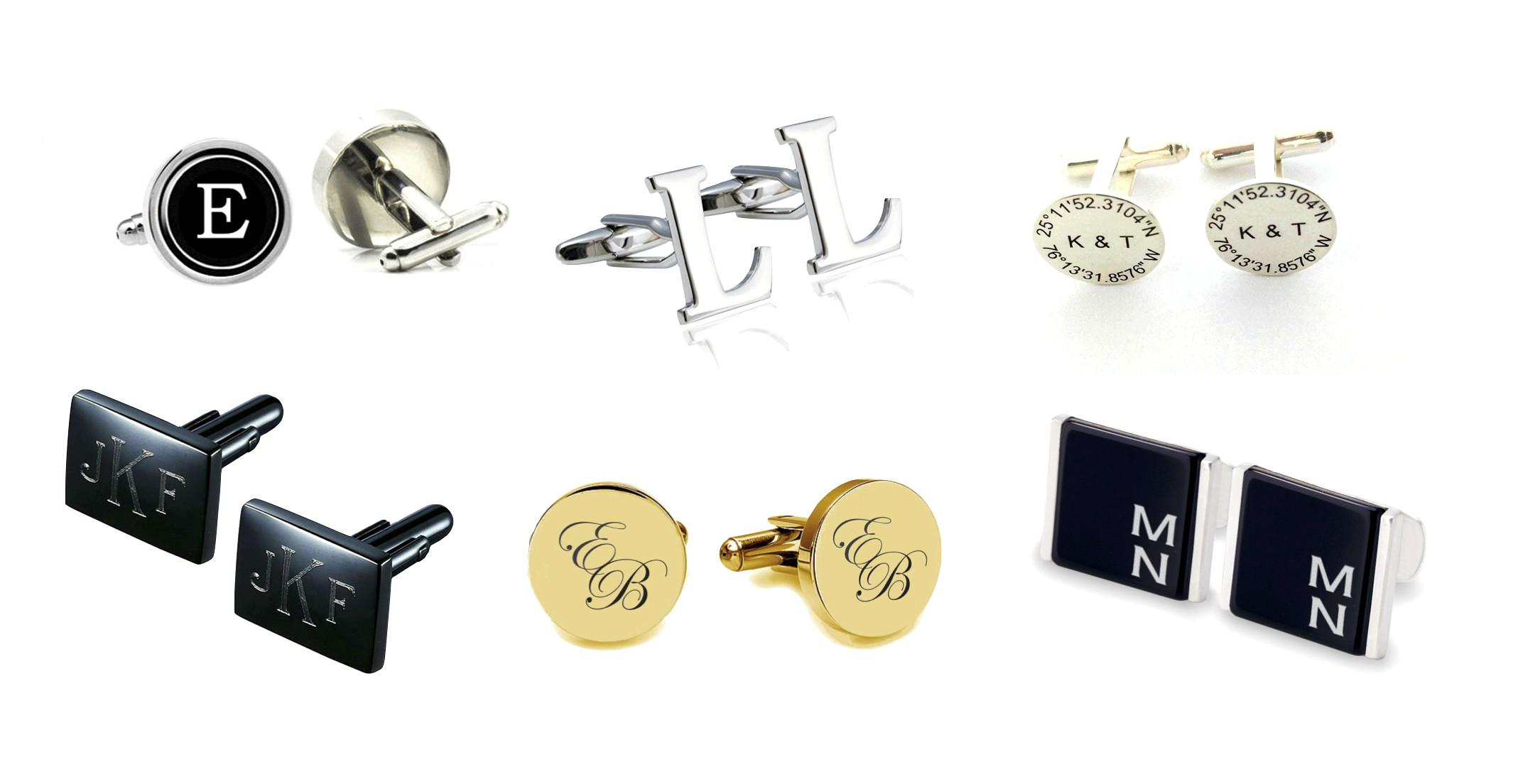 Custom Cufflink Silver Necklace,Gold,Rose,Gift Monogram Cufflink Initial Cufflink Personalized Monogram Cufflink Name Cufflink