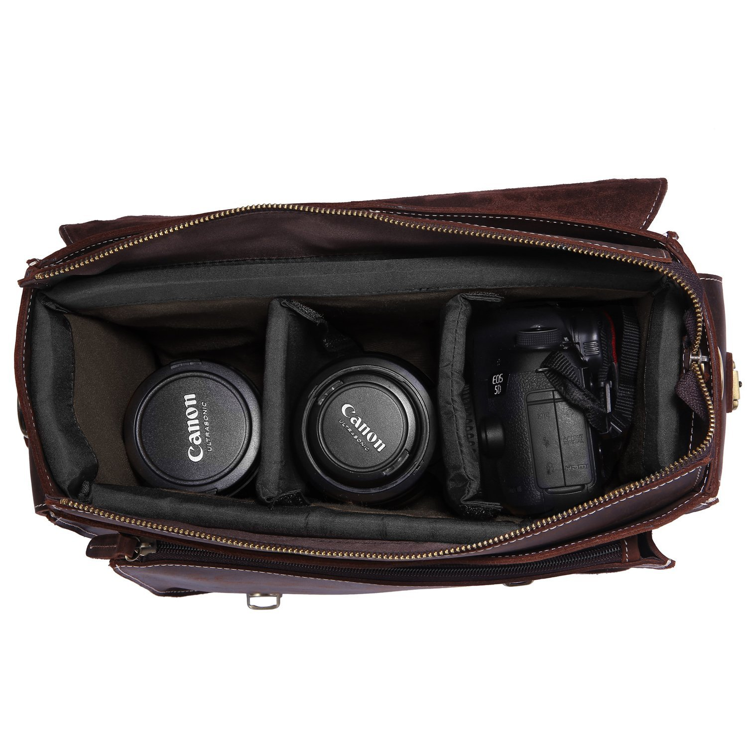 S-ZONE Leather DSLR Bag, best leather camera bags, leather bags for camera, leather camera backpack