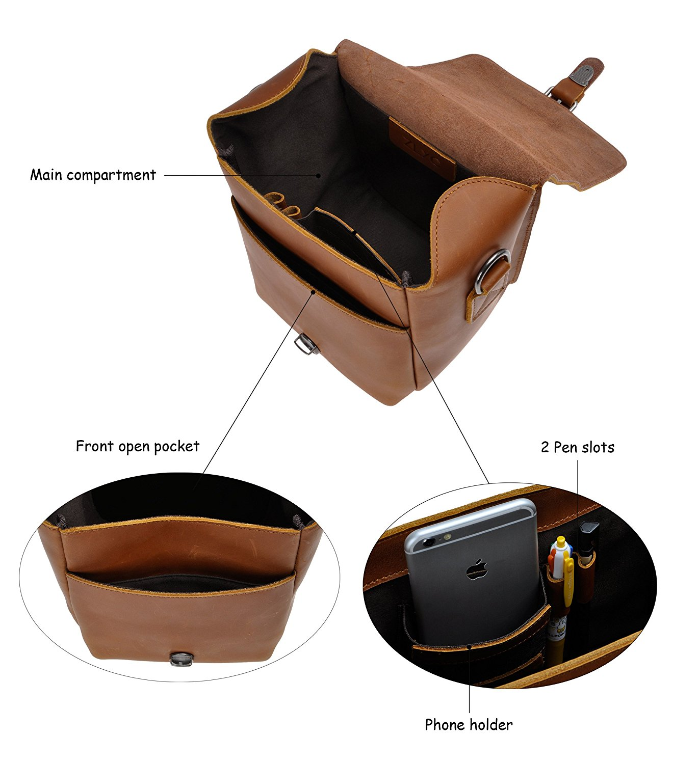 ZLYC Leather Messenger Bag, best leather camera bags, leather bags for camera, leather camera backpack