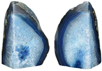 Agate Bookends Dyed Blue