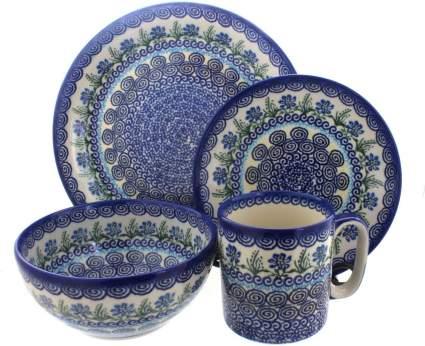 Blue Rose Polish Pottery Charleston 16 Piece Dinner Set