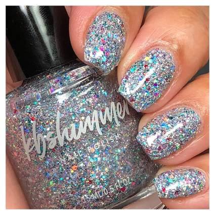 Holographic glitter silver polish