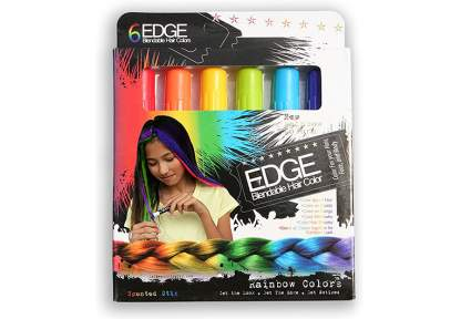 Image of package of six colorful hair chalk markers