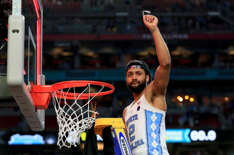 Joel Berry championship, North Carolina 2017 championship celebration, Tar Heels cut down the nets