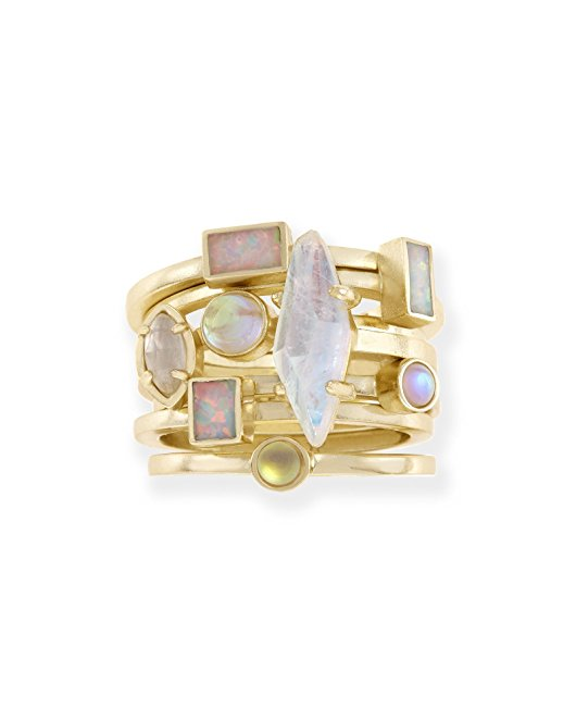 mother's day jewelry, mother's day ring, gold ring, opal ring, moonstone ring, stacked ring