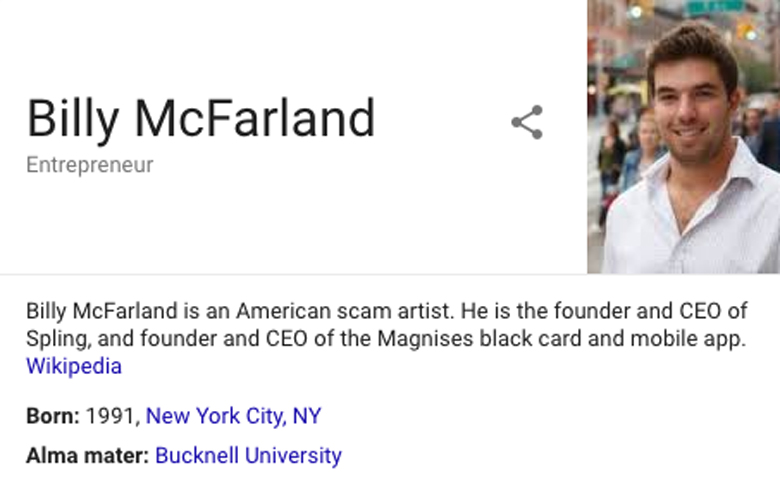 Billy McFarland Wikipedia page scam artist