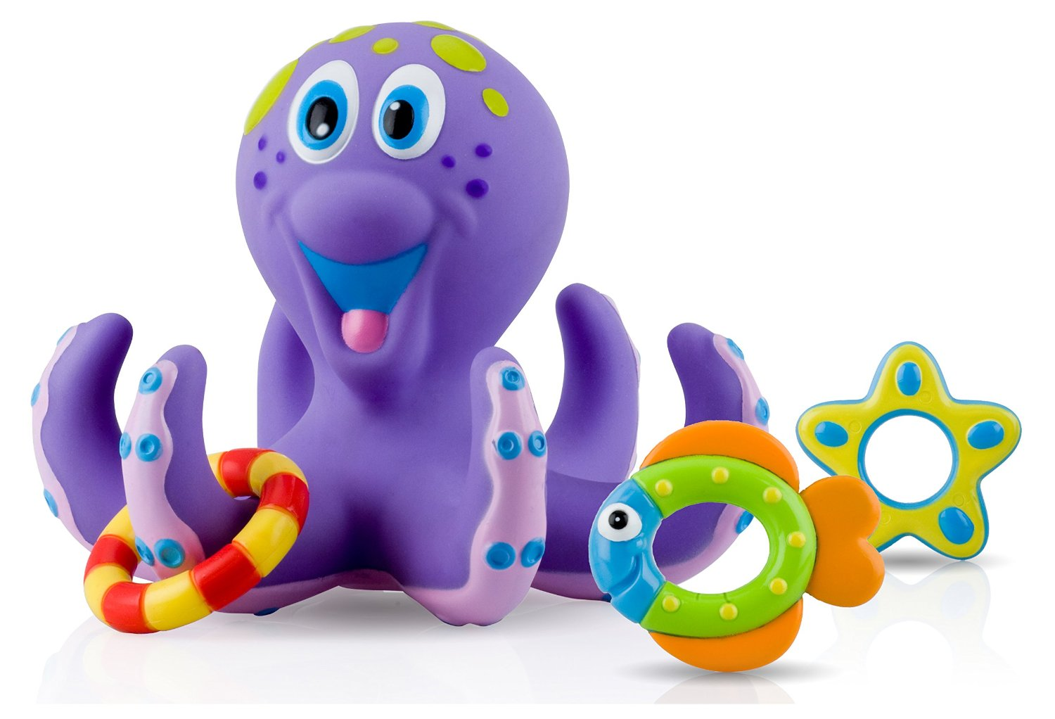 nuby octopus ring toss, ring toss bath toy, octopus bath toy, baby bath toys