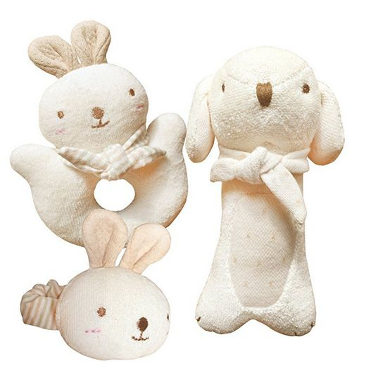 organic cotton baby rattle, baby rattles, best rattles, plush rattles, bunny rattle, puppy rattle