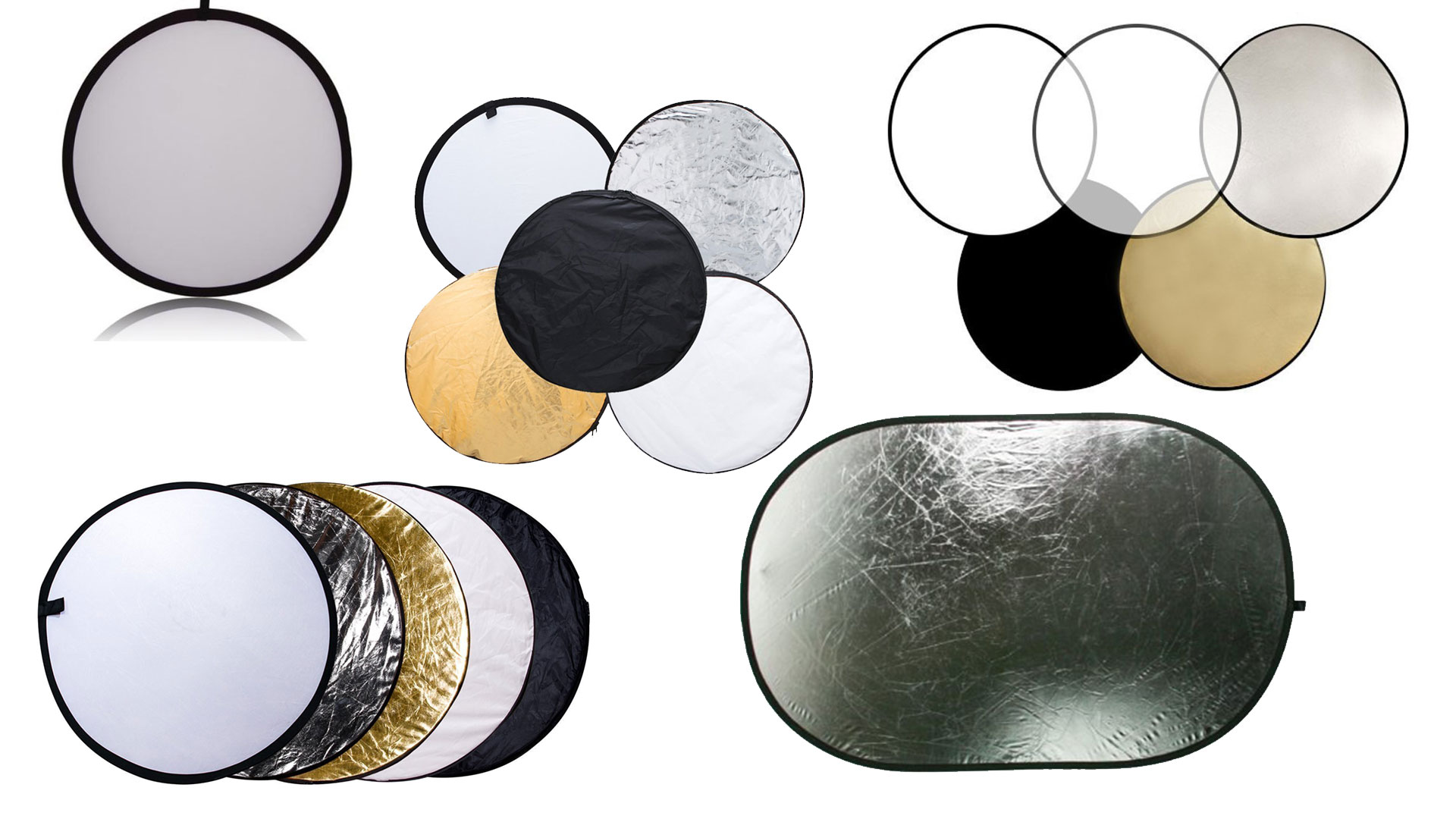 5-in-1 24 Photographic reflector Portable Handle Round Reflector Collapsible Multi Disc with Carrying Case for Photography Photo Studio Lighting