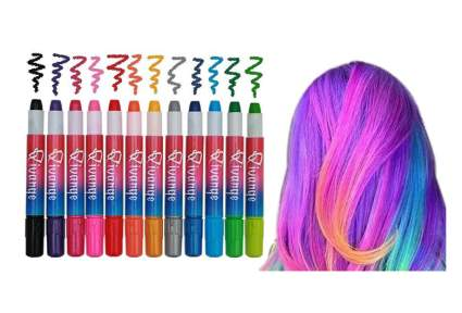 12 colorful hair chalk pens next to rainbow hair, qivange, hair chalk