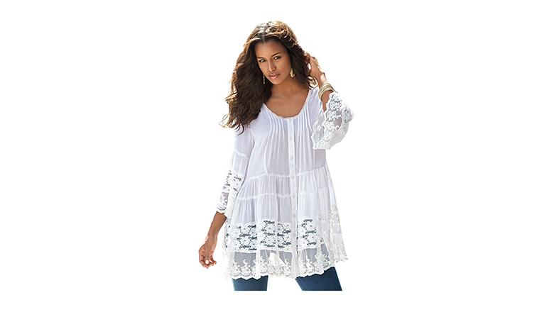 plus size tunics, plus size tops, plus size fashion, plus size clothing, Roaman's