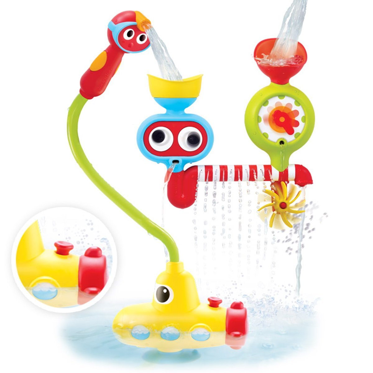 yookidoo submarine spray station, battery operated bath toy, squirter bath toy, water play bath toy, baby bath toys