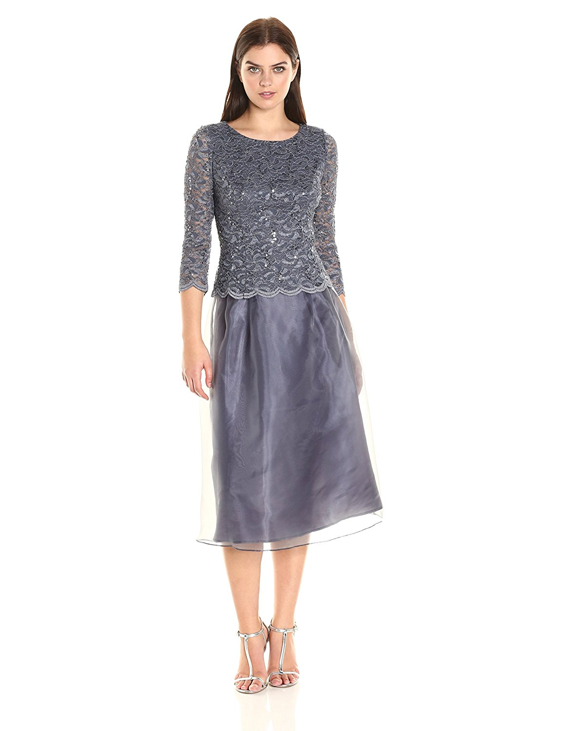 Sangria Womens Textured Fabric Bodice Fit /& Flare Dress with Taffeta Skirt