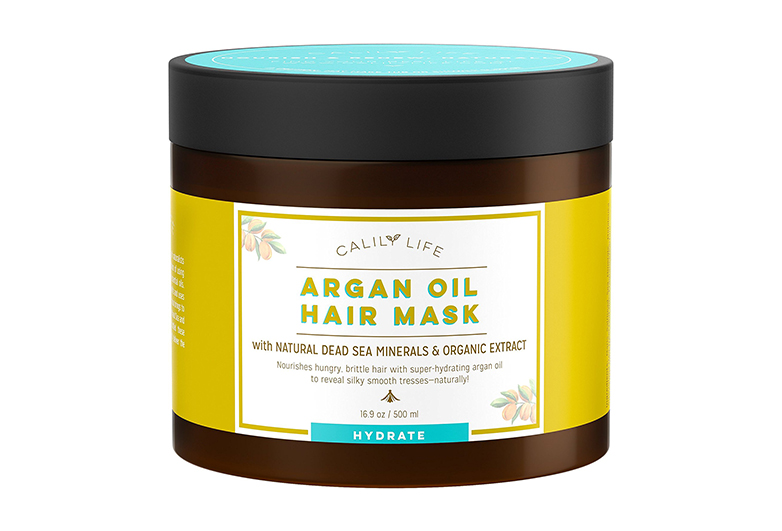 Image of brown jar of argan oil hair conditioner with yellow and aqua label