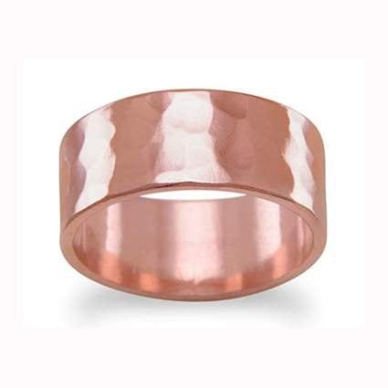 hammered solid copper band ring