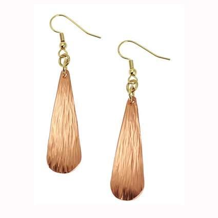 chased copper teardrop earrings