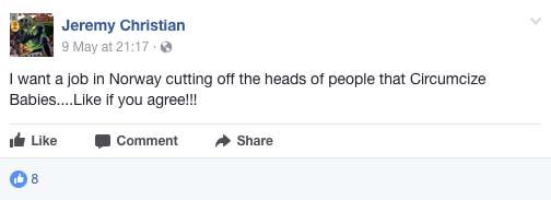 Jeremy Christian Facebook page