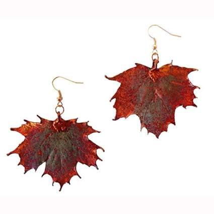 copper dipped sugar maple leaf earrings
