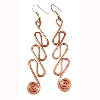 hammered copper wave earrings