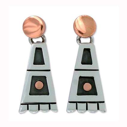 sterling silver and copper triangle domino earrings