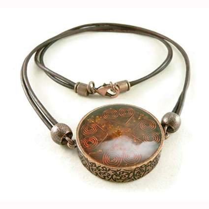 carnelian and copper reversible pendant necklace