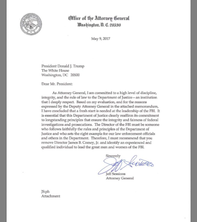 Jeff Sessions letter, James Comey fired