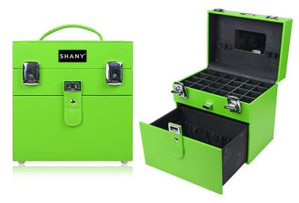 Image of bright green train case with black interior