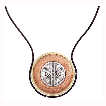 copper and silver compass necklace