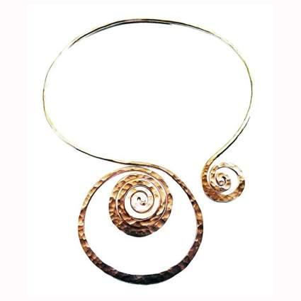hammered copper chakra necklage