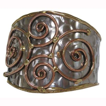 hammered steel with copper and brass spiral cuff bracelet