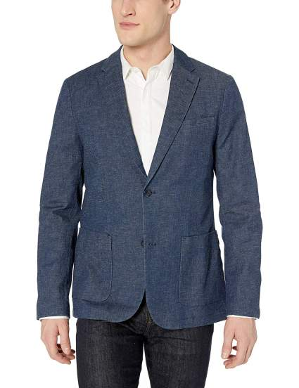 Perry Ellis Men's Slim Fit Stretch Linen Suit Jacket