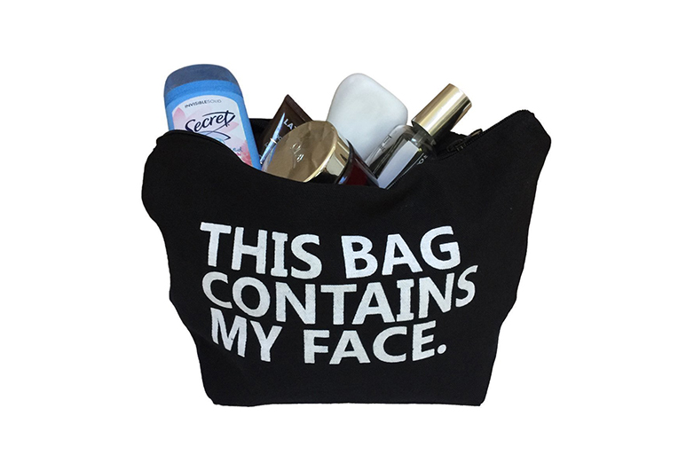 Image of black makeup bag with text This Bag Contains My Face