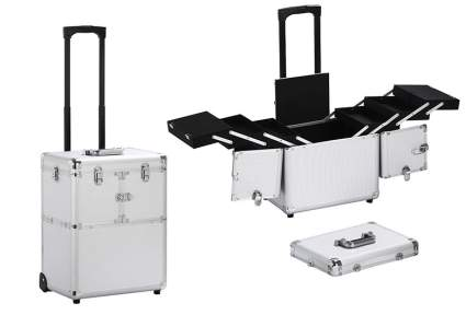 Image of short silver rolling train case