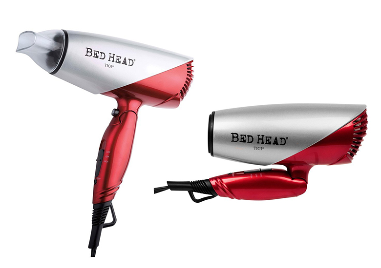 Folding dark red and silver hair dryer