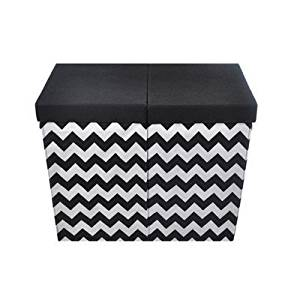 chevron nursery hamper, best nursery hamper, nursery hamper, modern nursery hamper, black and white nursery hamper, dual compartment nursery hamper, modern littles color pop folding laundry basket with handles, best laundry hampers for nursery, laundry hampers for nursery, collapsible laundry hamper