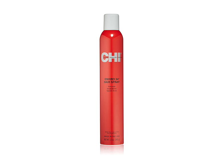 Image of bright red hair spray can