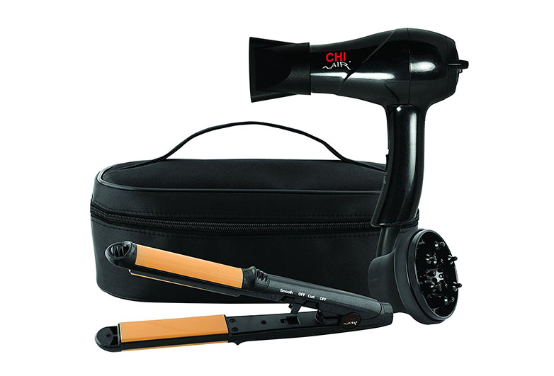 Black travel back with black mini hair dryer and mini flat iron