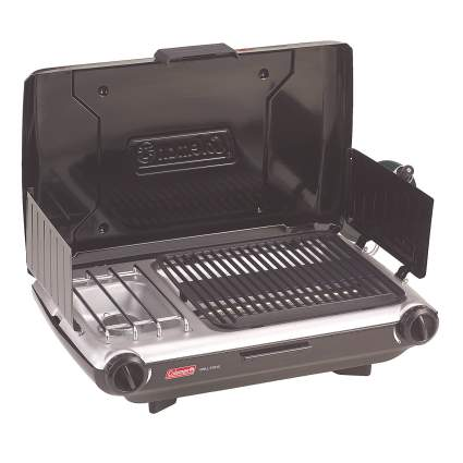 coleman, propane grill, camping, portable cooker
