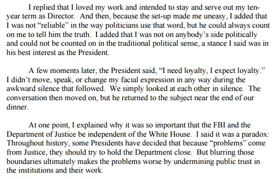james comey testimony, James comey opening Statement, James Comey Trump, Comey Trump loyalty pledge