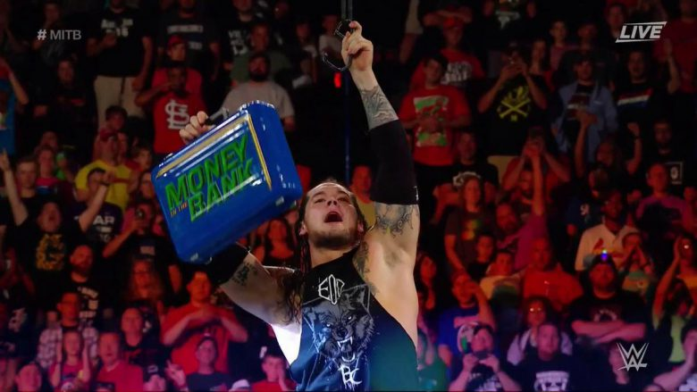 Baron Corbin money in the bank, baron corbin wins money in the bank, baron corbin money in the bank ladder match