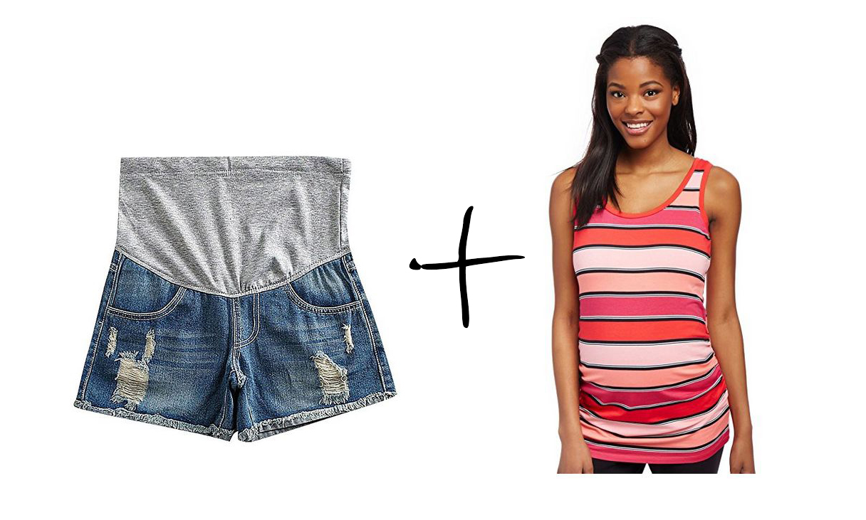US&R distressed maternity shorts, distressed maternity shorts, ripped shorts, denim maternity shorts, full panel maternity shorts, ruched maternity tank, striped maternity tank, pink striped maternity tank, motherhood maternity tank top, summer maternity outfits, cute maternity outfits, best maternity style, comfortable maternity style, affordable maternity style