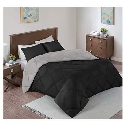 black and gray comforter and shams