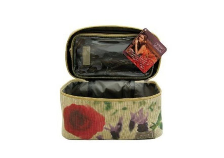 Image of earth tone makeup bag with flower design