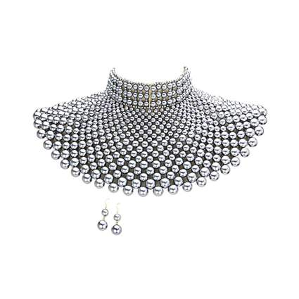 egyptian style pearl bib choker
