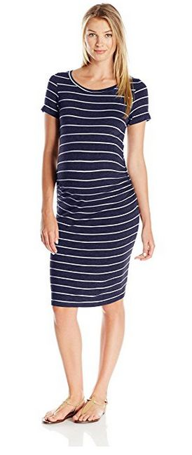 everly grey striped maternity dress, striped maternity dress, best striped maternity dress, dress with side ruching, cute maternity outfits, best maternity style, comfortable maternity style, affordable maternity style
