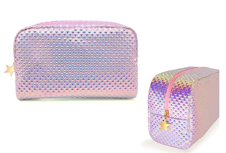 Image of pink holographic makeup  bag